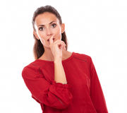 Adult brunette wondering with mouth gesture Royalty Free Stock Images