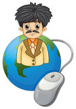An adult businessman above the globe with a computer mouse Stock Images