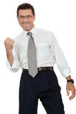 Adult businessman happy successful isolated on white Royalty Free Stock Photos