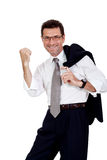 Adult businessman happy successful isolated on white Stock Photo