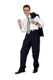 Adult businessman happy successful isolated on white Stock Photography