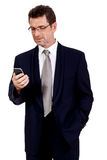 Adult businessman with smartphone mobilephone isolated Stock Images