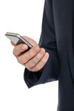 Adult businessman with smartphone mobilephone isolated Stock Photography