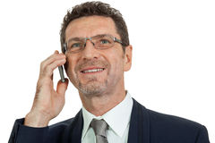 Adult businessman with smartphone mobilephone Stock Photography