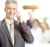 Adult businesswoman talking on the phone makes a deal, team work in the background mode Royalty Free Stock Image