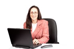 Adult Businesswoman woking on laptop Stock Photos