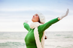 Adult carefree. Autumn fall wintertime with blue sky in vacation Royalty Free Stock Photos