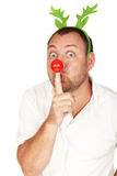 Adult Caucasian man with red nose. Handsome adult Caucasian man with green reindeer horns and red nose Stock Photography
