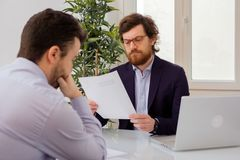 Worried job candidate waiting hiring decision stock photography