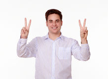Adult charming man celebrating his victory Royalty Free Stock Photo