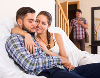 Adult and cheating partner at home Royalty Free Stock Photos