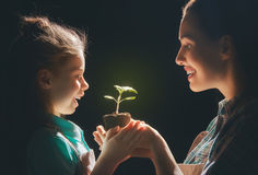 Adult and child holding green sprout. Concept of generation and development. Adult and child are holding in hands green sprout. Spring, nature, eco and care Stock Images