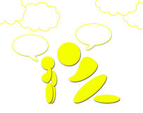 An Adult and a Child Speaking. There are an adult (it can be a man or a woman) and a child. They are speaking, but the balloons can be easily deleted if you Stock Photography