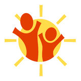 Adult, child and sun. A pictogram with an  adult and a child being happy together Royalty Free Stock Photo