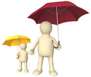Adult and child with umbrellas Royalty Free Stock Photos