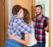 Adult children came to visit mother Royalty Free Stock Photo