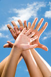 Adult and children's hands Stock Images