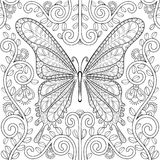 Adult coloring book with butterfly in flowers pages, zentangle v Stock Photos