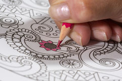 Adult coloring book and colorful pencils. Stock Photography