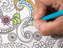 Adult coloring book and colorful pencils. Stock Image