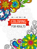 Adult coloring book design for cover. Illustration Royalty Free Stock Photography