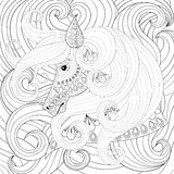 Adult coloring book with gorse head with long hairs, zentangle v Royalty Free Stock Photo