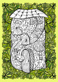 Adult coloring book half colored cover design and mono color black ink illustration, vector art. Fairy house with open door Stock Photos