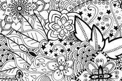 Adult coloring book hand drawn illustration Stock Photography