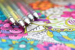 Free Adult Coloring Book, New Stress Relieving Trend. Art Therapy, Mental Health, Creativity And Mindfulness Concept. Royalty Free Stock Photography - 120307637