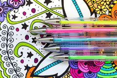 Free Adult Coloring Book, New Stress Relieving Trend. Art Therapy, Mental Health, Creativity And Mindfulness Concept. Stock Photography - 120792472