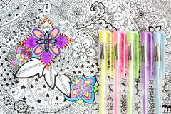 Free Adult Coloring Book, New Stress Relieving Trend. Art Therapy, Mental Health, Creativity And Mindfulness Concept. Royalty Free Stock Photos - 121929148