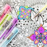 Adult coloring book, new stress relieving trend. Art therapy, mental health, creativity and mindfulness concept. Adult coloring page with pastel colored gel stock image