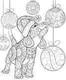 Adult Coloring Book,page A Cute Little Dog Wearing Christmas Hat On The Background With Decoration Balls For Relaxing.Zentangle. Stock Images