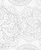 Adult coloring book,page an abstract floral background image for relaxing.Zen art style illustration stock images