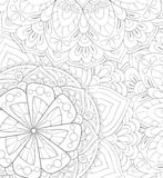 Adult coloring book,page an abstract floral background image for relaxing.Zen art style illustration stock image