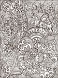 Adult Coloring book page for adults or kids. Black vector illustration template with fantastic flowers Royalty Free Stock Images