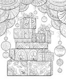 Adult coloring book,page a Christmas gifts with decoration ornaments for relaxing.Zentangle. vector illustration
