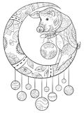 Adult coloring book,page a Christmas pig on the moon with decoration ornaments for relaxing.Zentangle. stock illustration
