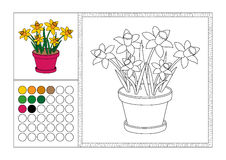 Adult coloring book page colored template, decorative frame and color swatch - vector black and white contour picture - yello Stock Photography