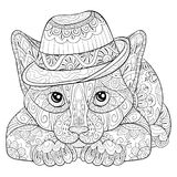 Adult coloring book,page a cute cat with hat for relaxing.Zen art style illustration. Stock Image