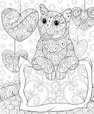 Adult coloring book,page a cute cat with a pillow on the background with hearts  for relaxing.Zen art style illustration. Royalty Free Stock Images