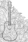 Adult coloring book,page a cute guitar on the abstract background for relaxing. A cute guitar on the abstract background with zen tangle ornamnets for adults royalty free illustration