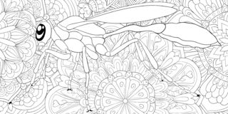 Adult coloring book,page a cute hornet image for relaxing.Zen art style illustration for print. A cute hornet image for adults,zen art style illustration for stock illustration