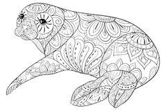 Adult coloring book,page a cute seal for relaxing.Zen art style illustration. Royalty Free Stock Photo