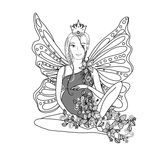 Adult coloring book page with fairy Pregnant lady Stock Photo