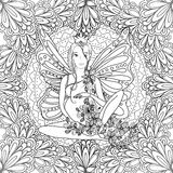 Adult coloring book page with fairy Pregnant lady Stock Photos