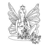 Adult coloring book page with fairy Pregnant lady.Pregnancy in zentangle style art.Black and white Royalty Free Stock Image