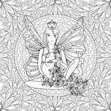 Adult coloring book page with fairy Pregnant lady.Pregnancy in zentangle style art.Black and white Stock Image