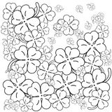 Adult coloring book page. Four leaf clovers. Hand drawn Vector Illustration.