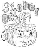 Adult coloring book,page a Halloween theme illustration for relaxing. Royalty Free Stock Photography